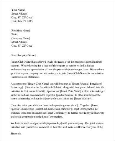 sponsorship partership request letter