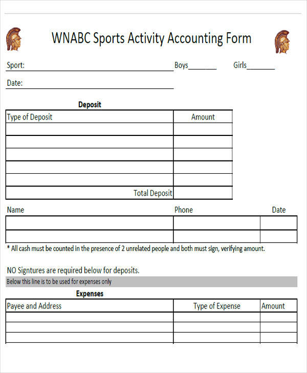 sports activity accounting form