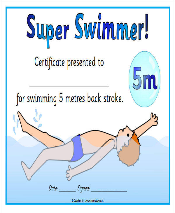 sports kid swimming certificate1