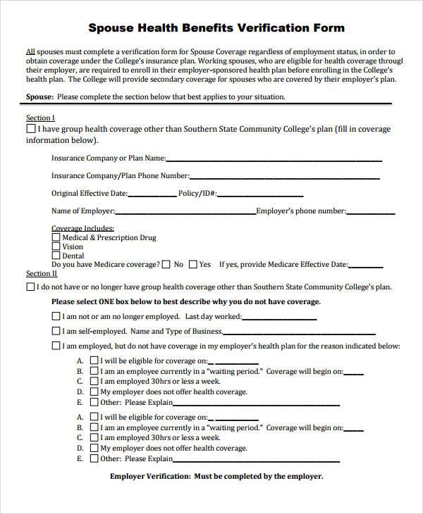 spouse health benefits verification form