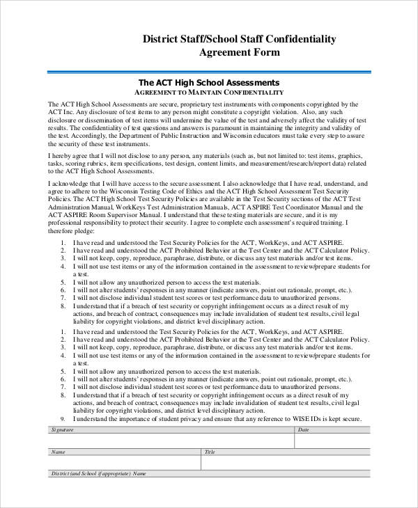 staff confidentiality agreement form