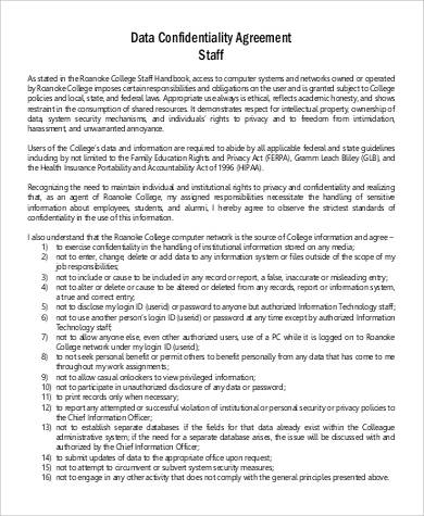 Staff Data Confidentiality Agreement