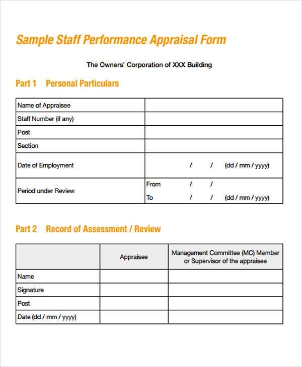 Superb Staff Performance Appraisal Form Photo