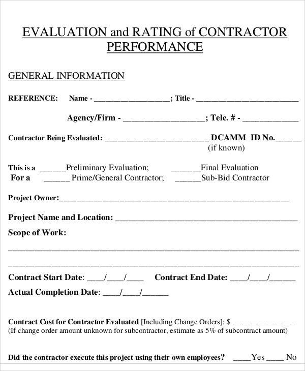 standand contractor evaluation forms