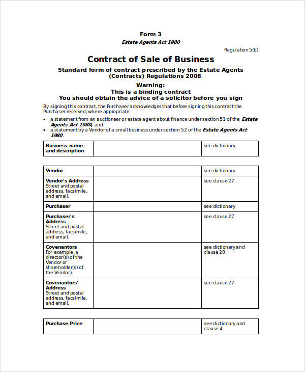 standard business contract sale agreement