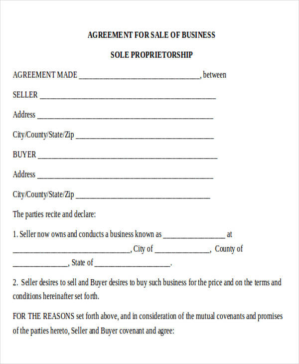 standard business sale agreement form
