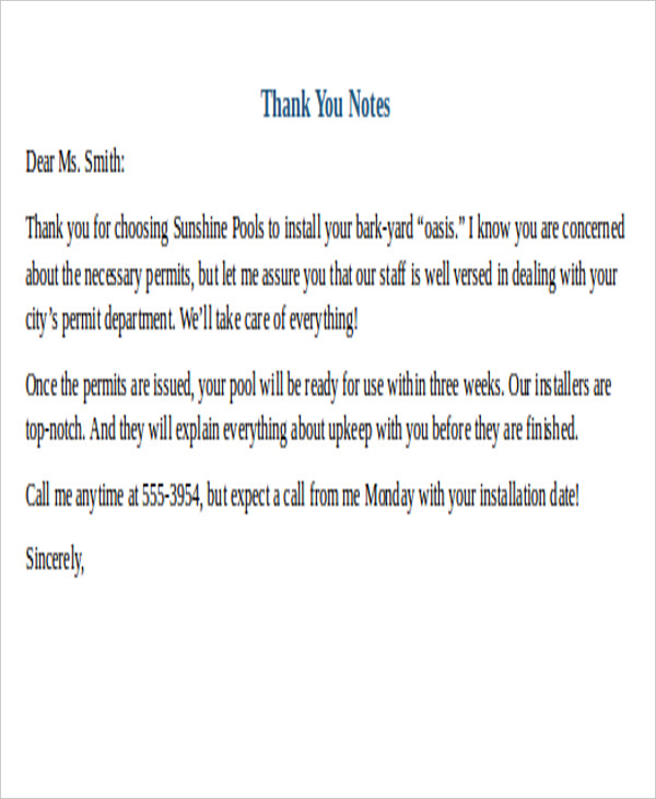 Sample Thank You Letter Formats