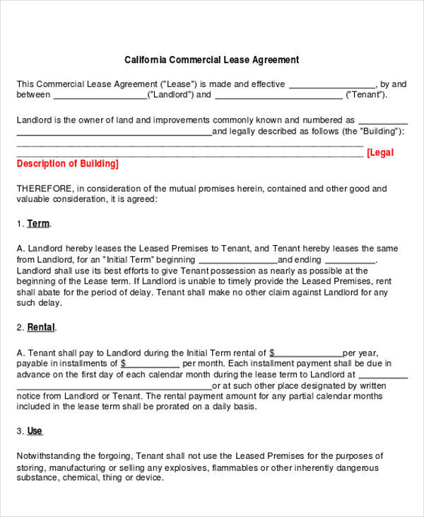 standard commercial lease agreement pdf