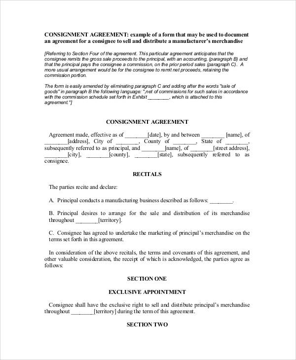 standard consignment agreement form
