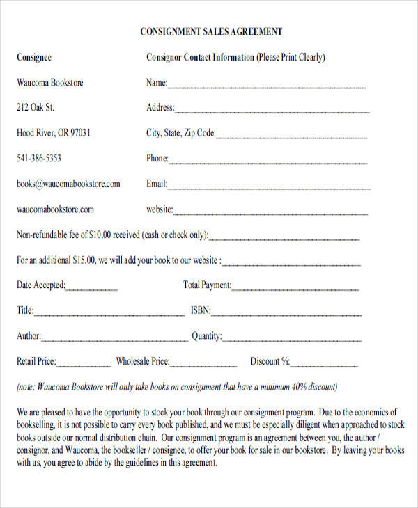 standard consignment sales agreement form
