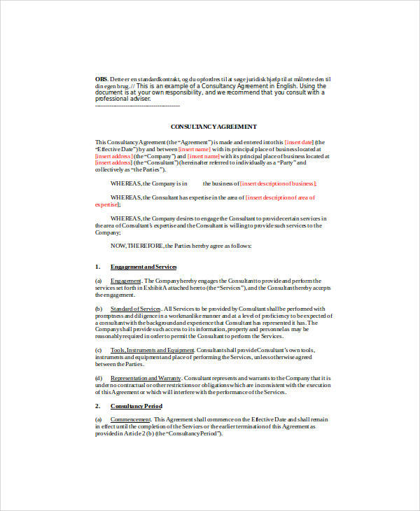 Consulting Agreement Forms