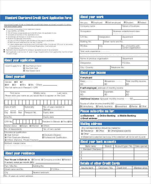 65 application form samples sample templates for Standard credit application template