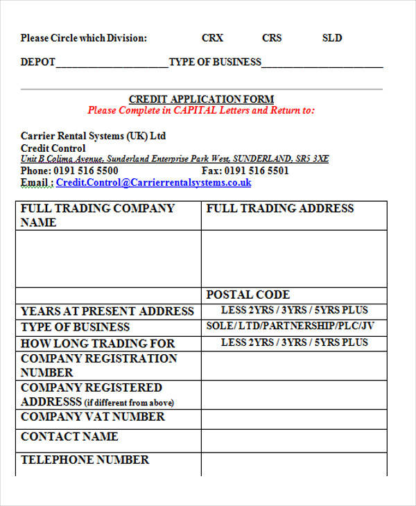 standard credit application form1
