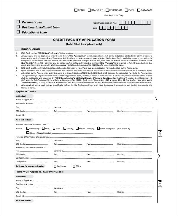 74 sample application forms in pdf sample templates for Standard credit application template
