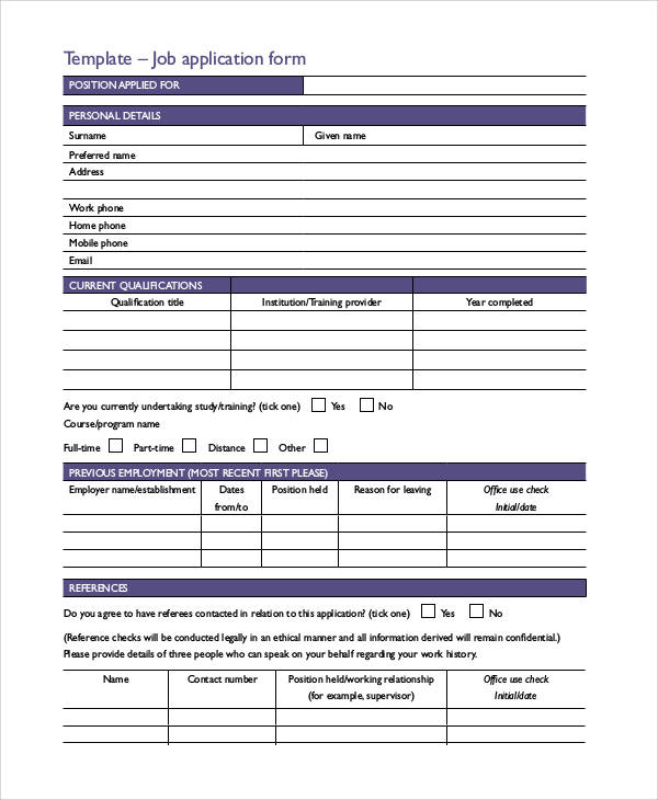 66 Basic Application Forms Sample Templates