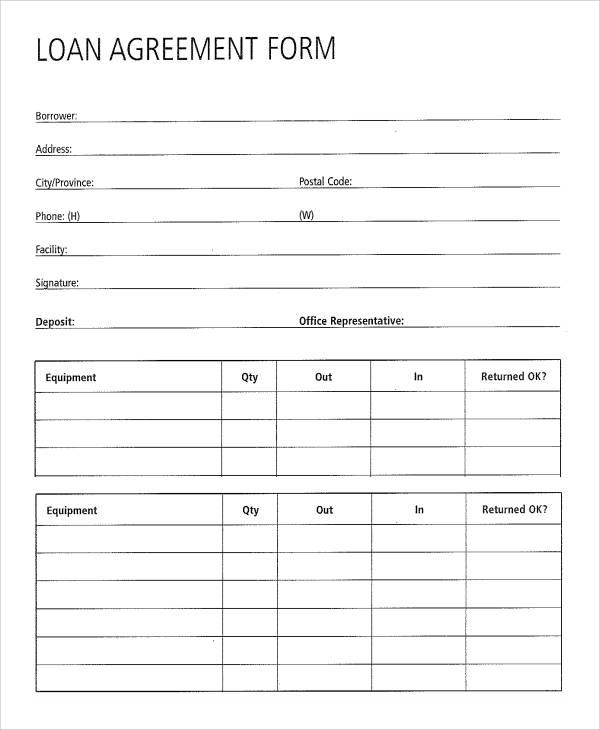 standard loan agreement form
