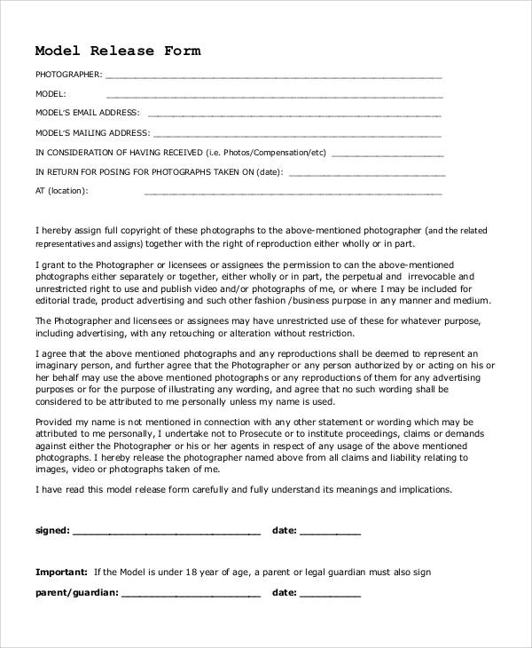 53 generic release forms sample templates for Standard model release form template