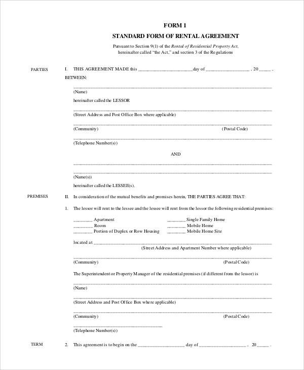 standard rental agreement form