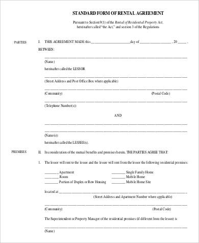 standard rental agreement1