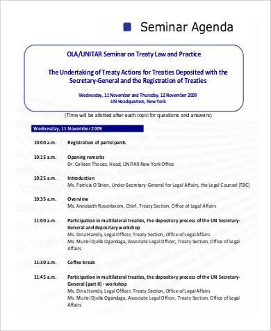standard seminar agenda