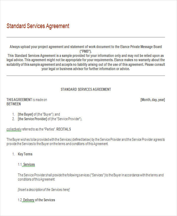 standard services agreement form1