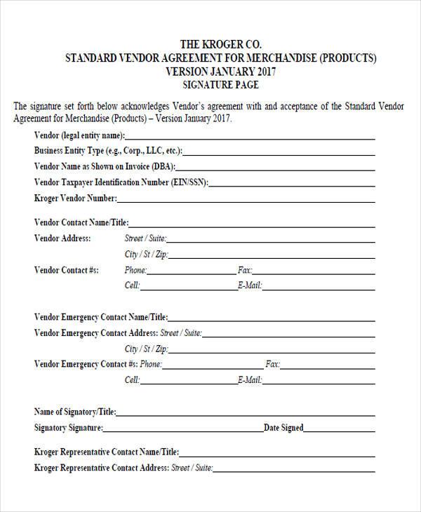 standard vendor agreement form3