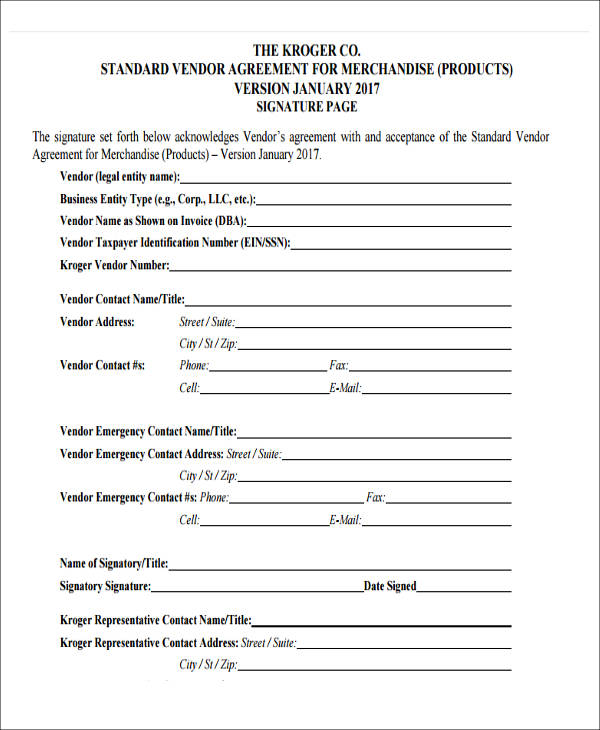 standard vendor agreement form4