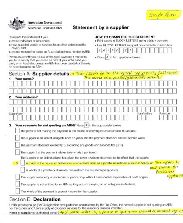 statement by supplier form