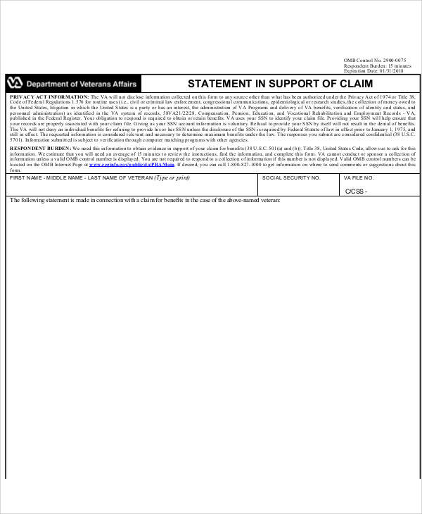 statement in support of claim form