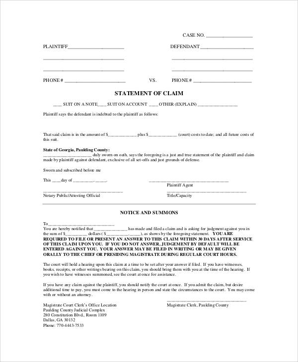 statement of claim form