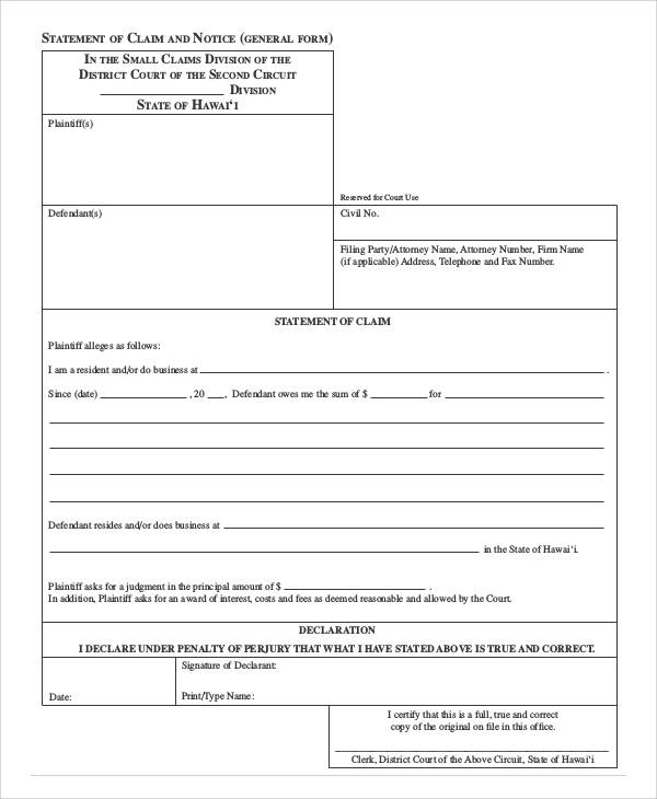 statement of claim and notice form