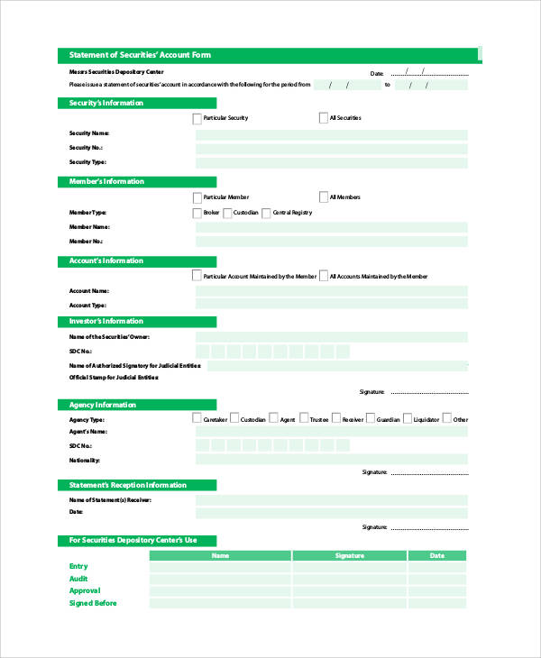 statement of securities account form