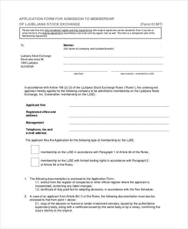stock exchange membership application form