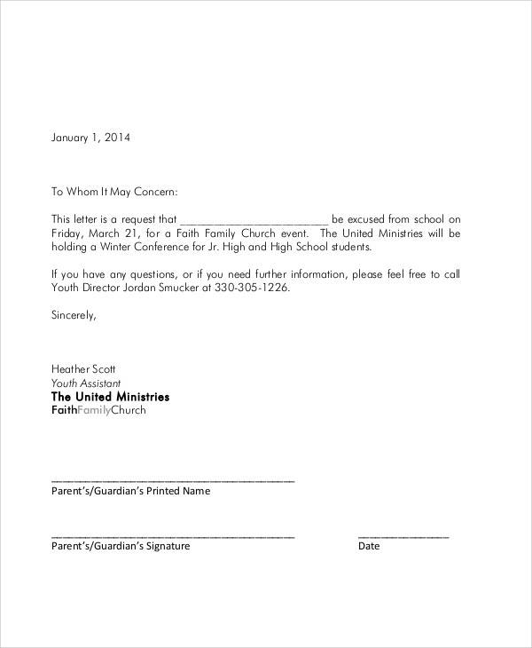 excuse letter sample for college student sample student letter 15732