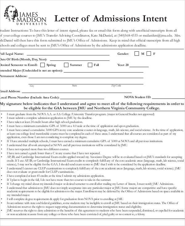 student admissions letter of intent1