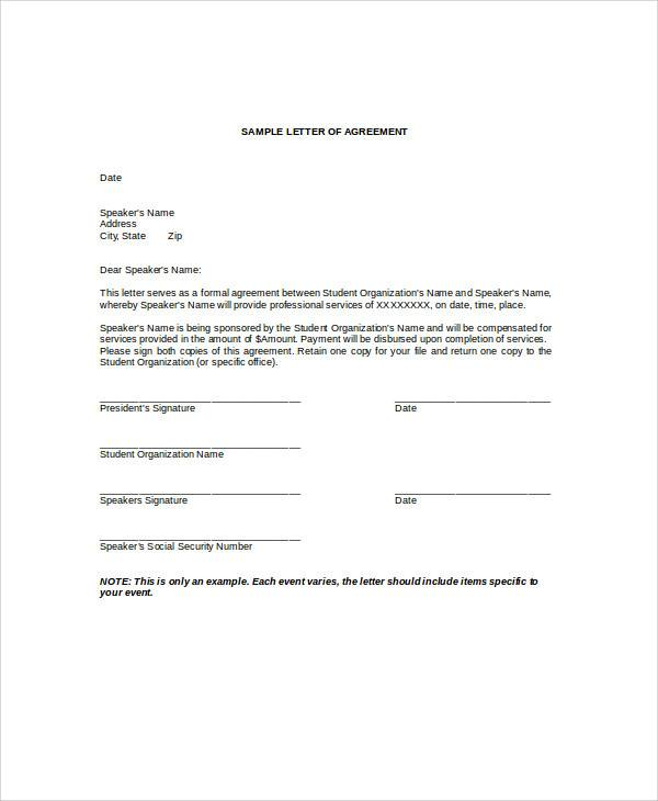 student agreement letter format