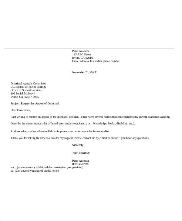 sample appeal letter for college