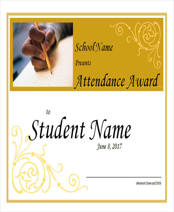 student attendance award certificate