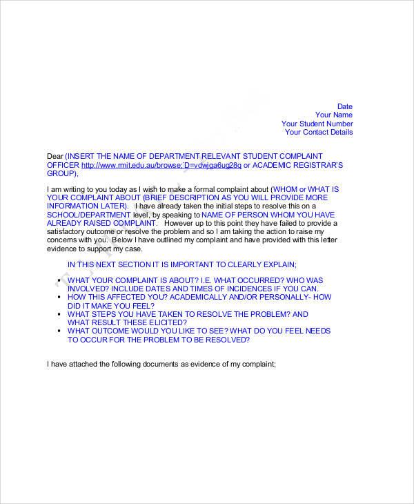 student complaint letter format