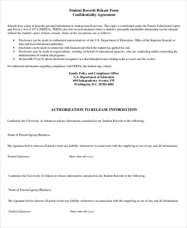 student confidentiality agreement form