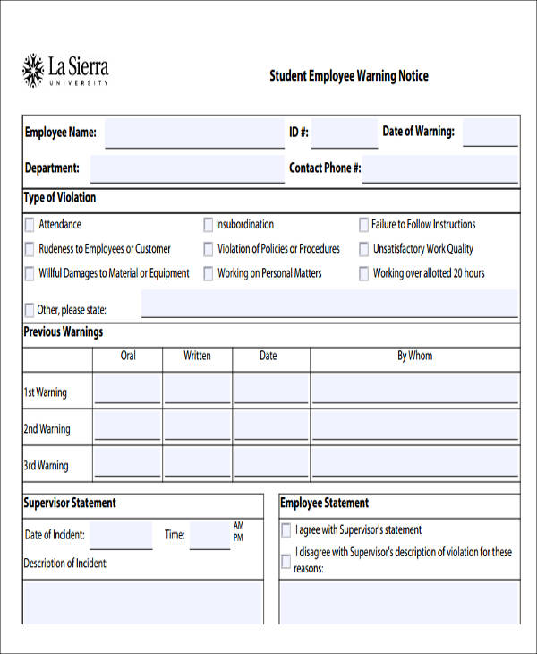 student employee warning notice2