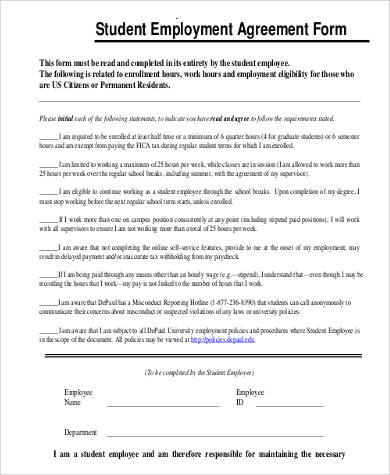 student employment agreement form