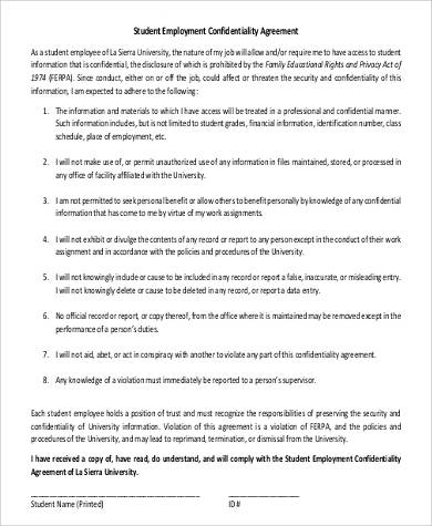 student employment confidentiality agreement