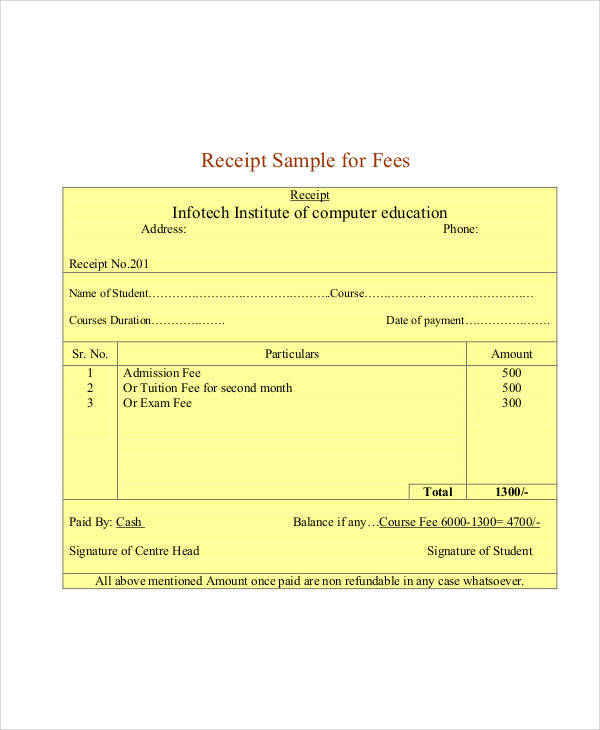 student fees payment receipt