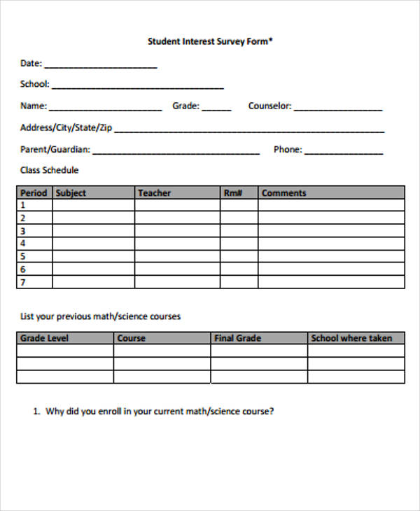 student interest survey form1