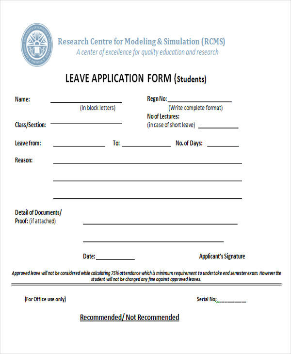 student leave application form2