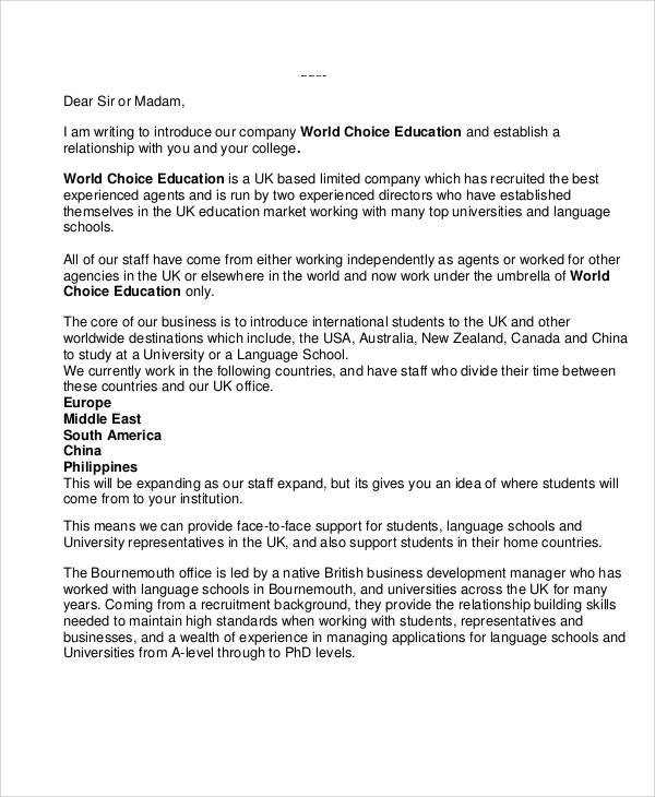 student letter of introduction