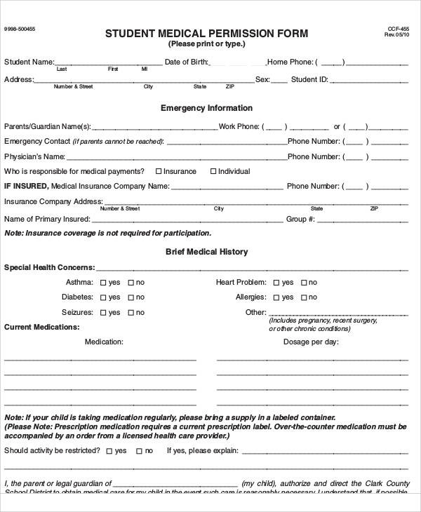 student medical care permission form
