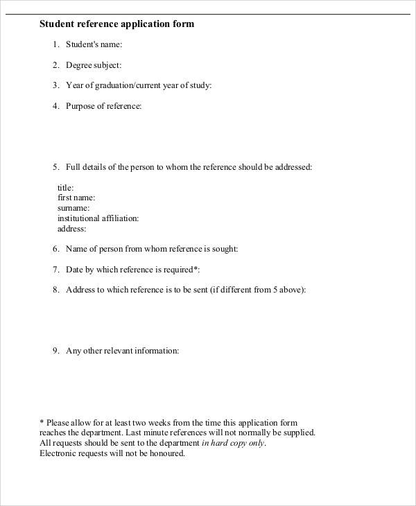 student reference application form