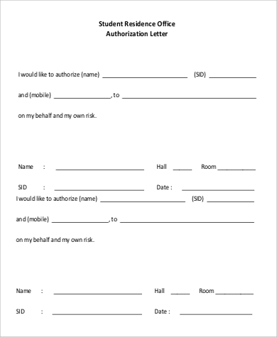 student residence office authorization letter